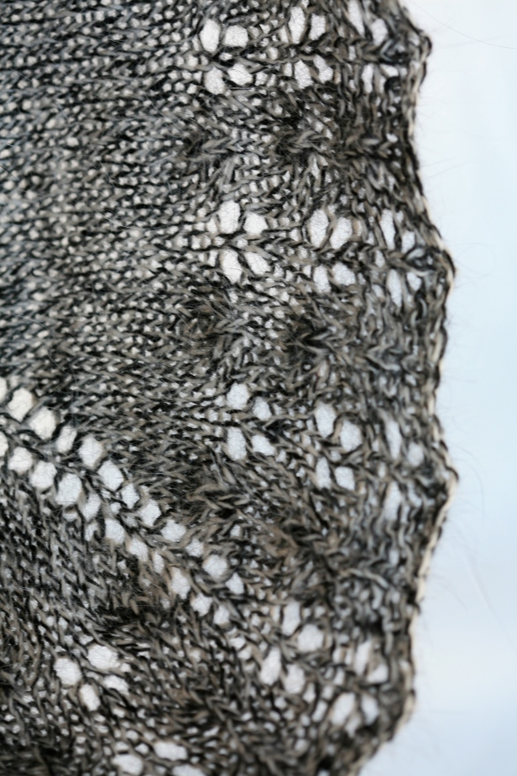 Lacy edge of a mink & cashmere blend shawlette