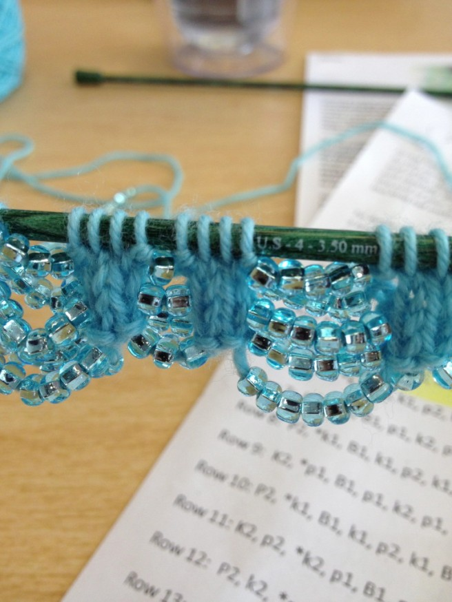 The beginning ... after stringing on three strands of beads.