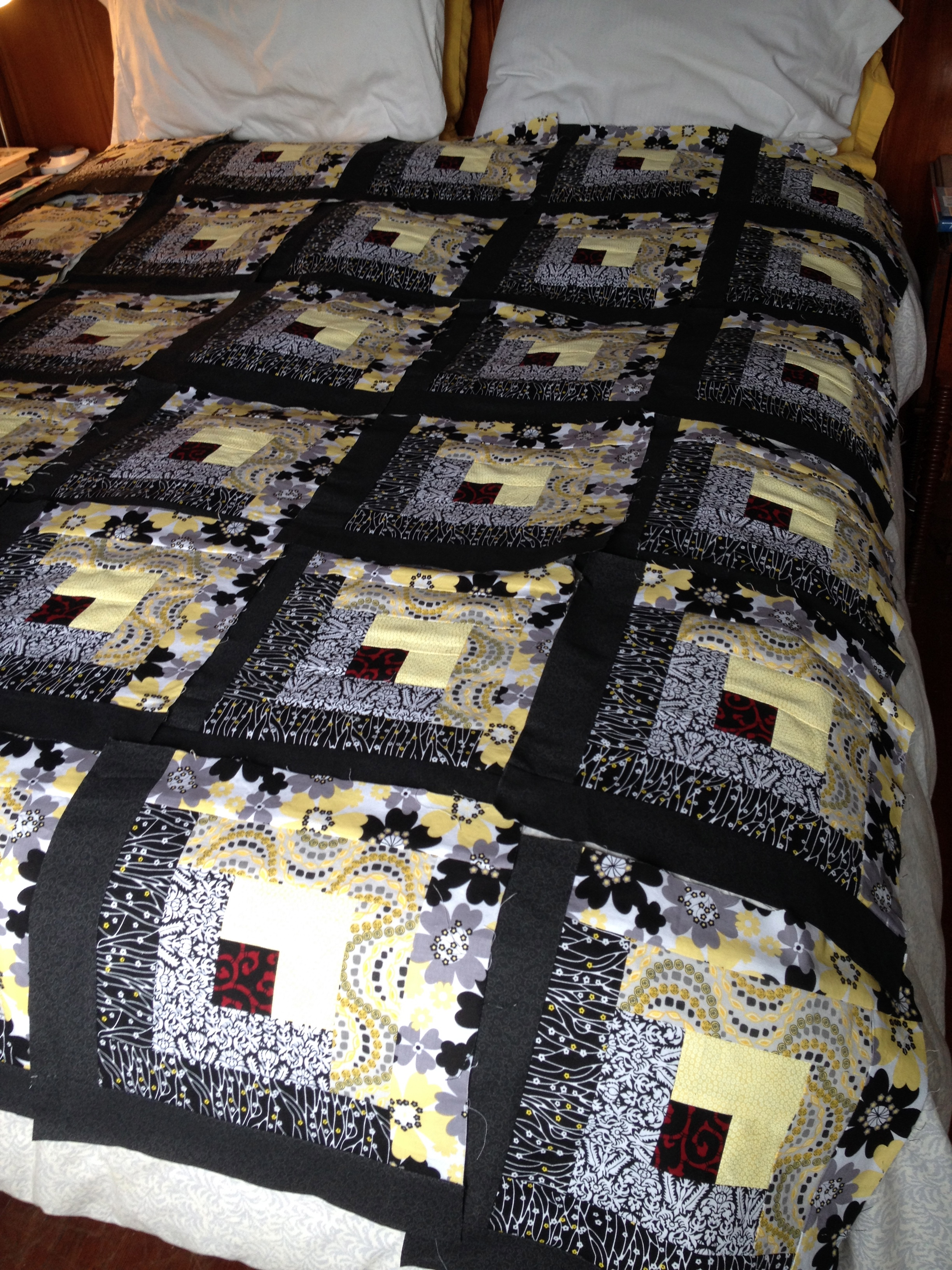 And then there's this project! A king-size Log Cabin quilt!