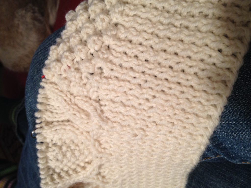 A good start - I chose to make my ribbing with the larger size needle so it doesn't get too blouse-y